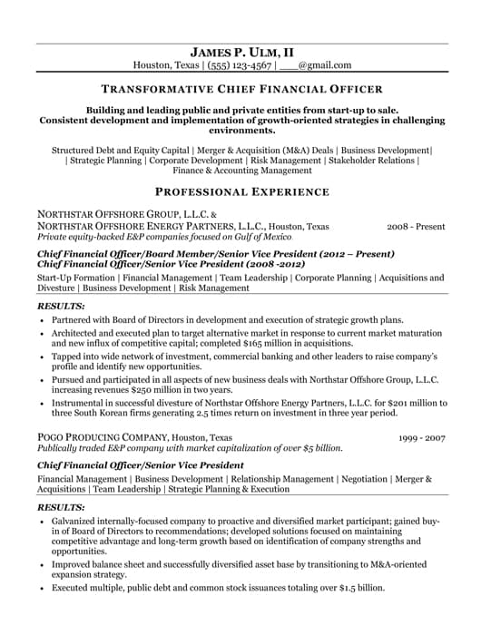 Best CFO Resumes  Sample Cfo Resume