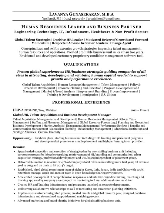 Best Human Resources Resumes  Human Resources Resume Examples