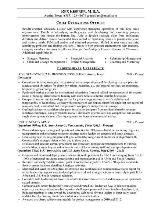 best cfo resumes - Military Resume Writers
